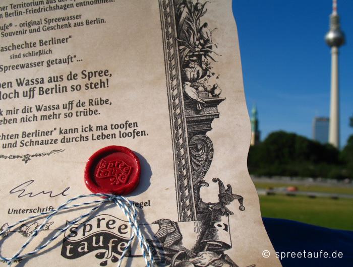 Spreetaufe Souvenir Berlin Zertifikat